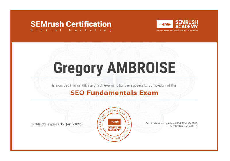 SEMrush-SEO-Fundamentals-Exam-Gregory-Ambroise