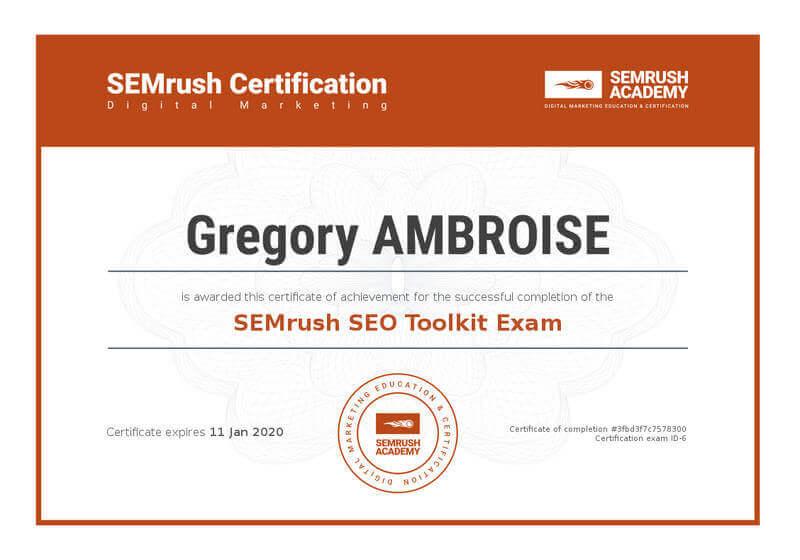 SEMrush-SEO-Toolkit-Exam-Gregory-Ambroise